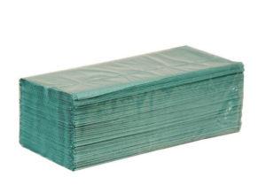 Бумажные полотенца, V-сложение, 1 слой, 160 листов, зеленые