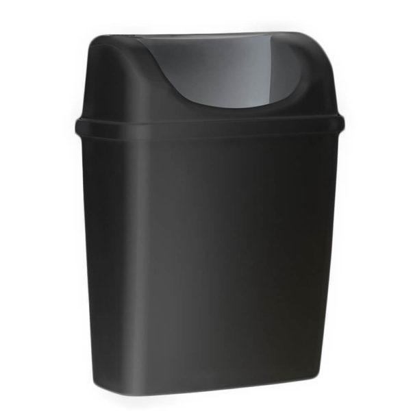 Корзина для мусора, с крышкой, черная, 6 литров