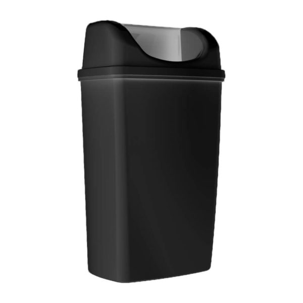 Корзина для мусора, с крышкой, черная, 50 литров