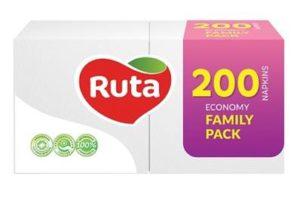 Бумажные салфетки, столовые, 200 шт. в пачке, 24×24 см, белые, FAMILY PACK