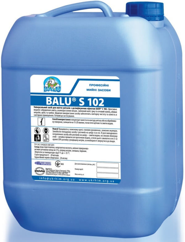 Средство для чистки унитазов BALU S 102, 10 литров