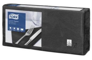 Черные бумажные салфетки TORK, столовые, 200 шт. в пачке, 33×33 см.