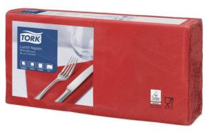 Красные бумажные салфетки TORK, столовые, 200 шт. в пачке, 33×33 см.