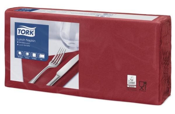 Бордовые бумажные салфетки TORK, столовые, 200 шт. в пачке, 33×33 см.