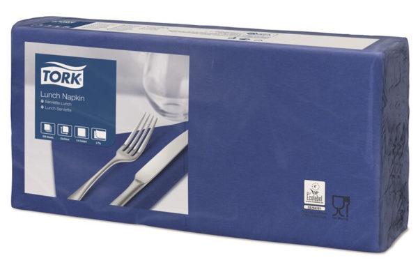 Синие бумажные салфетки TORK, столовые, 200 шт. в пачке, 33×33 см.