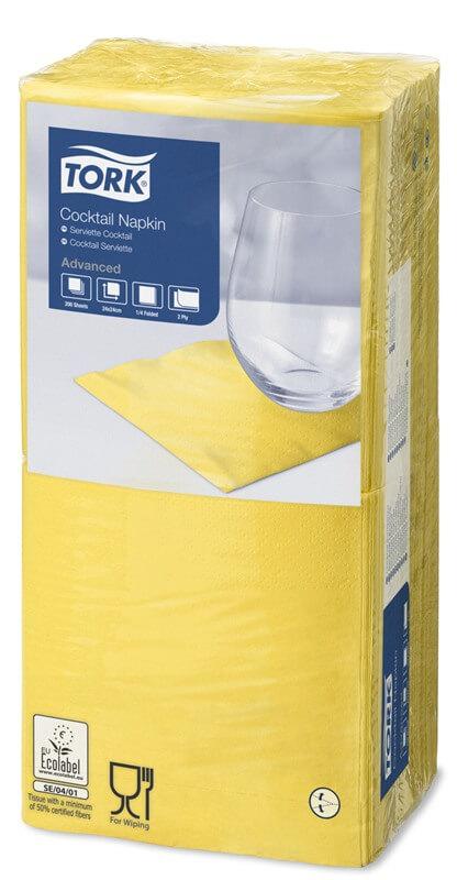 Желтые бумажные салфетки TORK, столовые, 200 шт. в пачке, 24×24 см.