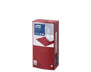 Бордовые бумажные салфетки TORK, столовые, 200 шт. в пачке, 24×24 см.