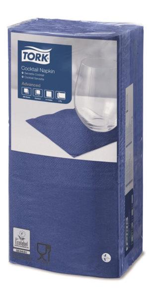 Синие бумажные салфетки TORK, столовые, 200 шт. в пачке, 24×24 см.