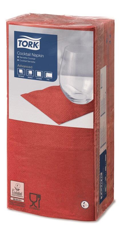 Красные бумажные салфетки TORK, столовые, 200 шт. в пачке, 24×24 см.