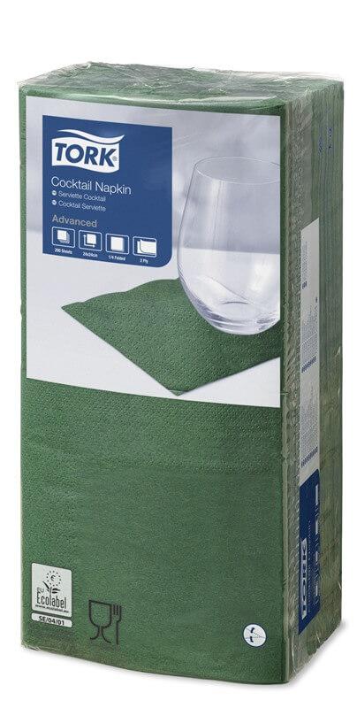 Зеленые бумажные салфетки TORK, столовые, 200 шт. в пачке, 24×24 см.