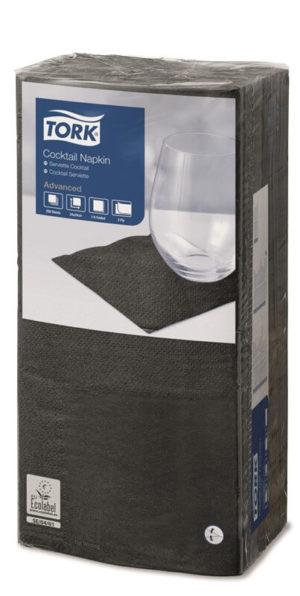 Черные бумажные салфетки TORK, столовые, 200 шт. в пачке, 24×24 см.