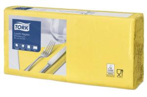 Желтые бумажные салфетки TORK, столовые, 200 шт. в пачке, 33×33 см.